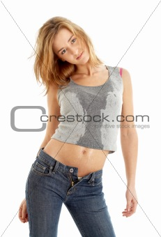 jeans girl in wet shirt