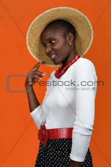 african girl with hat