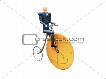 3D Businessman on dollar-cicle