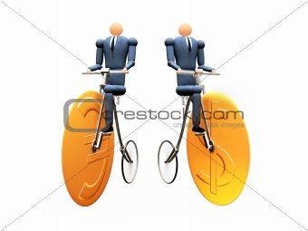 3D Businessmen on dollar-euro cicle