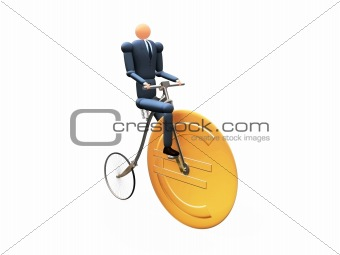 3D Businessman on eurocicle