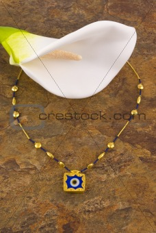 Calla Lilly and Gold Necklace