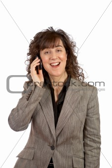 Smiling business woman talking with phone
