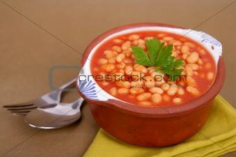 Beans on tomato