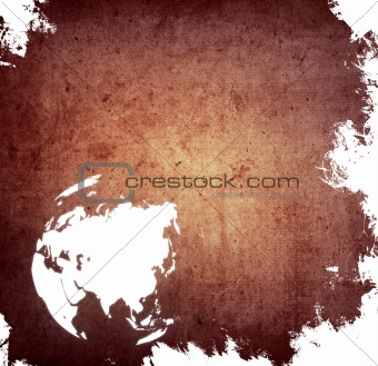 aged asia map-grunge artwork