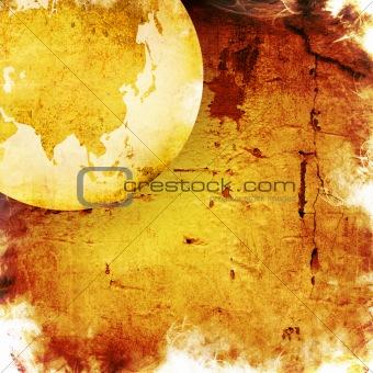 aged asia map-grunge artwork