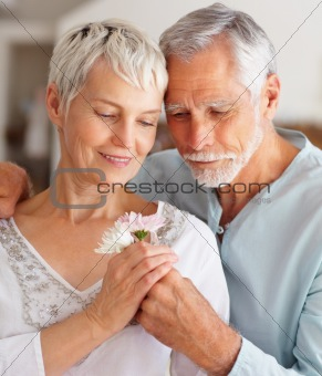 Closeup of a smiling romantic senior couple