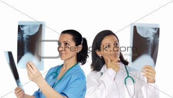 Two woman doctor with radiography