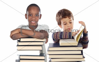 Adorable child with many books