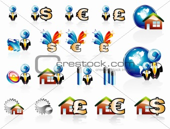 Business Finance and House Icon set