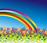 Daisy Flowers Rainbow Background