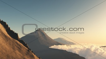 Mountain at the sunset