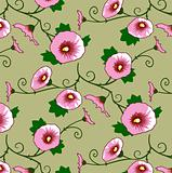 Seamless wallpaper pattern with pink flowers