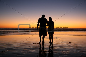 Couple Walks in Sunset - (IMG_9561)