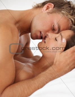 Romantic young couple having sex