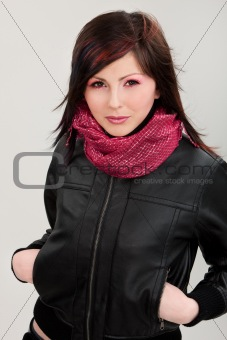 Brunette girl in leather jacket