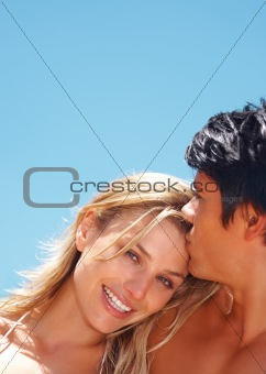 Closeup of a romantic young couple