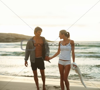 Couple spending time with each other at beach