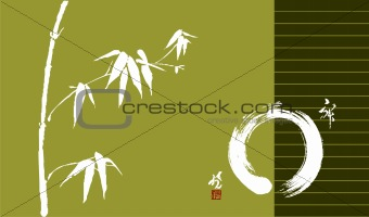 Zen circle and bamboo illustration