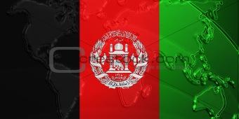 Flag of Afghanistan metallic map