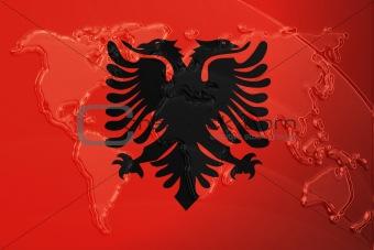 Flag of Albania,  metallic map