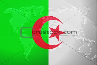 Flag of Algeria metallic map
