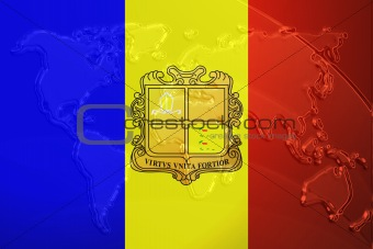 Flag of Andorra metallic map