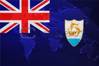Flag of Anguilla metallic map