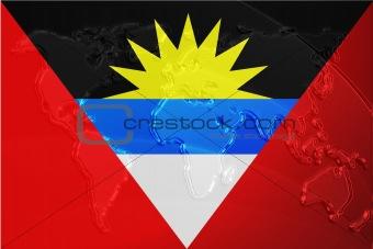 Flag of Antigua metallic map