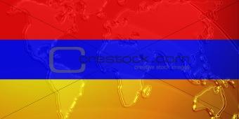 Armenia flag metallic map