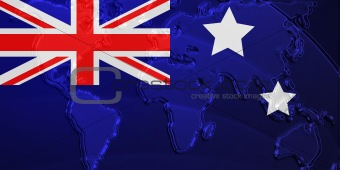 Flag of Australia metallic map