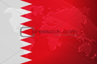 Flag of Bahrain metallic map