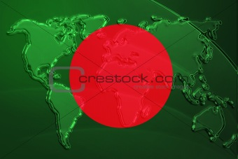 Flag of Bangladesh metallic map