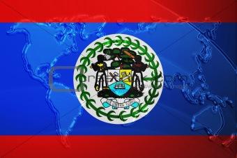 Flag of Belize metallic map