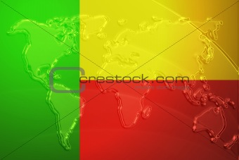 Flag of Benin metallic map