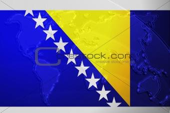 Flag of Bosnia Hertzigovina metallic map