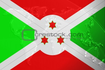 Flag of Burundi metallic map