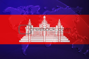 Cambodia flag metallic map
