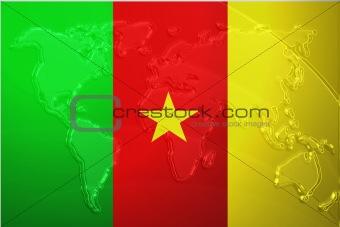 Flag of Cameroon metallic map