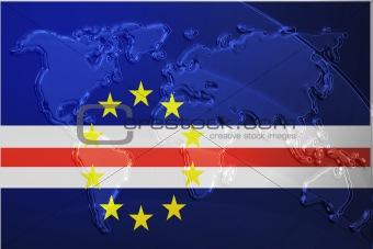 Flag of Cape Verde metallic map