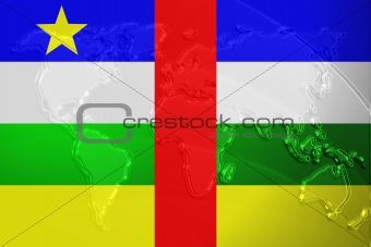 Flag of Central African Republic metallic map