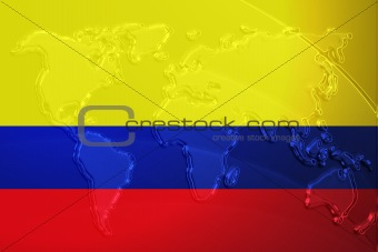 Flag of Colombia metallic map