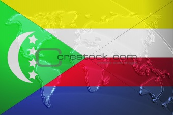 Flag of Comoros metallic map