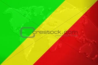 Flag of Congo metallic map
