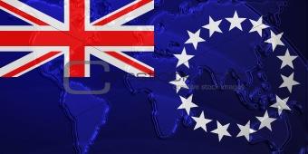 Flag of Cook Islands metallic map
