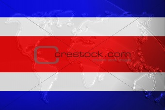 Flag of Costa Rica metallic map