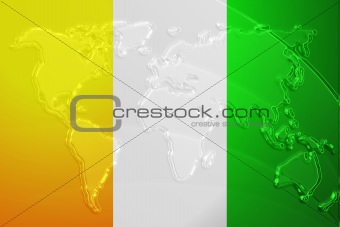 Flag of Ivory Coast metallic map