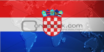 Flag of Croatia metallic map
