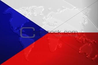 Czechoslovakia flag metallic map