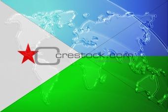 Flag of Djibouti metallic map